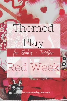 This week, we began themed play with my 23-month old to focus on color recognition!  This week was all about the color red.  These activities are great for babies and young toddlers that are not quite ready for as much structure.  #ColorRed #TeachingBabies #TeachingToddlers #RedCrafts #RedActivity #RedBooks