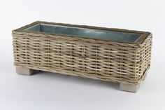 This grey and buff rattan wicker planter comes complete with a metal trough insert to keep your plants happy and healthy. Rattan Planters, Trough Planters, Plant Pots, Potted Plants, Metal Trough, Natural Materials, Color Splash, Herb, Basket