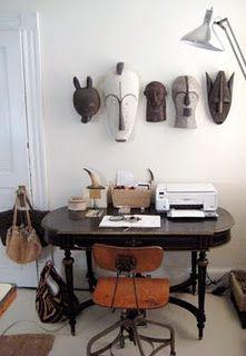 Thea Beasley's desk/masks