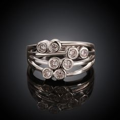 Multilayer White Gold Plated Ring