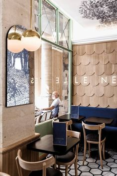 Blue and Wood Shop interior #restaurantdesign