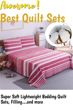 Super Soft Lightweight Bedding Quilt Sets, Filling with Skin Friendly Breathable Hydrophillic Washed Cotton, Multipurpose As Bedspread Thin Comforter with 2 Shams (King (102'x90'), Red Stripe) ... (This is an affiliate link) #quiltsets