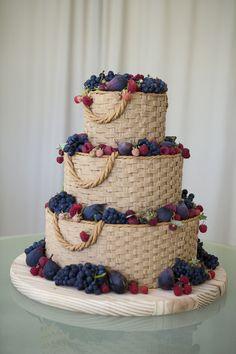 3-tiered Basket Weave Wedding Cake . . . an original !