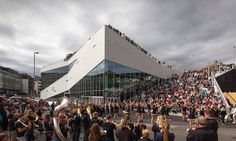 danish firm 3XN has just completed the 'cultural center plassen' for the community of molde in norway, featuring a library, auditorium, and rooftop deck.