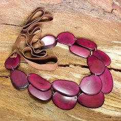 Multistrand Necklace in Fuchsia Tagua Nut by ArtisansintheAndes
