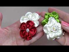 Квіти канзаші. 2 варіанти/Цветы канзаши. 2 варианта. Шпильки/Kanzashi new petals - YouTube