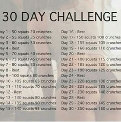 30 day challenge, fitness starters.