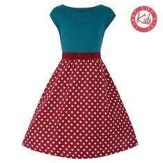 Mini Yvette Teal Raspberry Dress   Vintage Style Kidswear - Lindy Bop