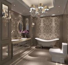 Luxury Master Bathroom Ideas is very important for your home. Whether you choose the Small Bathroom Decorating Ideas or Luxury Bathroom Master Baths Photo Galleries, you will create the best Luxury Master Bathroom Ideas Decor for your own life. Bad Inspiration, Bathroom Inspiration, Bathroom Ideas, Bathroom Designs, Bathroom Mirrors, Bathroom Colors, Gold Bathroom, Bathroom Bath, Elegant Bathroom Wallpaper