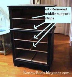 repurposing chest of drawers Repurposed Furniture Chest Drawers repurposing Refurbished Furniture, Repurposed Furniture, Furniture Makeover, Dresser Repurposed, Furniture Refinishing, Chair Makeover, Antique Furniture, Drawer Bookshelf, Bookshelf Ideas