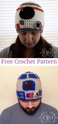 Star Wars' BB-8 and R2D2 Crochet Beanies - Hat Pattern from HanDIY Video Tutorials