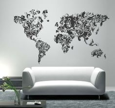 Large world map nursery wall decal baby nursery wall decal 7 adesivi murali mappa del mondo tribale floreale world map gumiabroncs Images