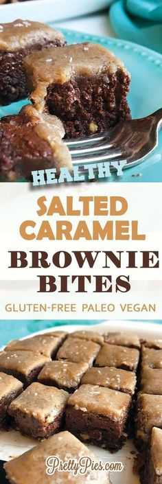 Healthy Salted Caramel Brownie Bites! Unbelievably GOOD! Dairy-free, gluten-free and NO added sugar. They're made healthier using whole-foods and sweetened only with FRUIT. #vegan #paleo #glutenfree - PrettyPies.com