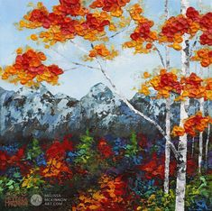 Rocky mountain range and forest landscape painting on canvas giclee art by contemporary abstract landscape artist painter Melissa McKinnon painted with palette knife and impasto texture title 'Out on the Edge'.