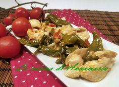 Straccetti di pollo e peperoncini verdi