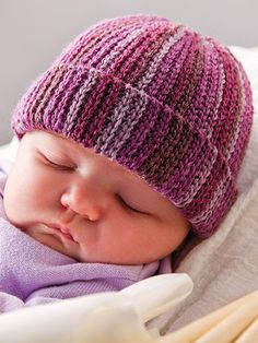 Crochet - Patterns for Children & Babies - Hat Patterns - Violas Cap Knitted Hats Kids, Baby Hats Knitting, Crochet Baby Hats, Crochet Beanie, Chunky Knitting Patterns, Crochet Patterns, Annie's Crochet, Ribbed Crochet, Baby Hat Patterns