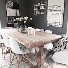 Esszimmer ♡ Wohnklamotte Tisch How Contemporary Office Furniture Can Help Your Business Are you a bu Cottage Dining Rooms, Dining Room Table, Living Room Decor, Rustic Farmhouse Furniture, Farmhouse Table, Elegant Dining Room, Dining Room Design, Design Room, White Kitchen Interior