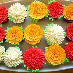 Cupcake Bouquet Tutorial - Learn how to make a simple and fun cupcake bouquet using beautifully decorated flower cupcakes.