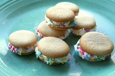 Sprinklewiches! Nilla wafers with Cool Whip (or yogurt?) and sprinkles in between