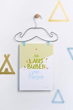 Digitaldruck für Lausbuben / cute and fun typo artprint, wall decoration for nursery by grafikherz via DaWanda.com