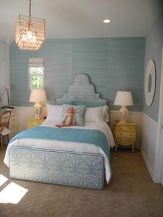 Turquoise seagrass wallpaper and Quadrille fabric on custom bed--LA Designer Pacific Family Home