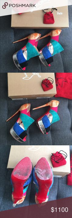 """Christian Louboutin Suede-Python heels Christian Louboutin suede & python peep toes in rare color-way. Worn only once, soles are covered with protective adhesive so they're well preserved. 5 3/4"""" covered heel with 1 1/4"""" platform. Comes in original box w/ extra heel tips. Fits anyone size 7/7.5🚫NO TRADES🚫📦FAST SHIPPER📦❗️Reduced price for 🅿️🅿️❗️ Christian Louboutin Shoes Heels"""