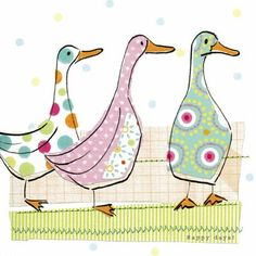 Three collage style ducks in beautiful pastel colours. www.oliveandbelle.co.uk