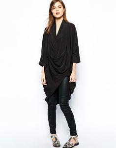 Y.A.S - Robe taille basse en tissu à col châle