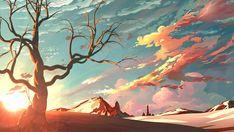 Bare tree and desert wallpaper, bald tree under blue sky illustration, artwork, HD wallpaper Zero Wallpaper, Anime Scenery Wallpaper, Landscape Wallpaper, Landscape Artwork, Wallpaper Art, Animal Wallpaper, Nature Wallpaper, League Of Legends Art, Illustration Art Nouveau