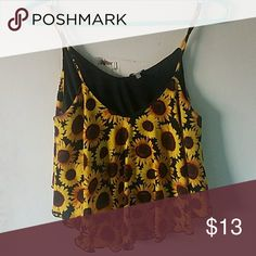 crop top sunflower print Tops Crop Tops