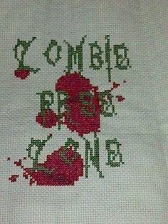 zombie free zone xstitch