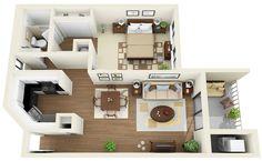 1bedroom, 1bath - 3D Floor Plan | www.coralclubapts.com/ | Flickr