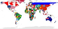 This is a map showing all of the countries of the world with their national flag.  Found using social networking.  (4th)