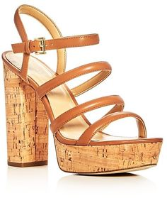 4a322ebc6af Say hello to the Michael Michael Kors Nantucket Strappy Block Heel Platform  Sandals. High-quality sandals by Michael Michael Kors displayed in Acorn.