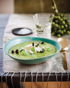 Pesto Pea Soup with Steamed Cod -