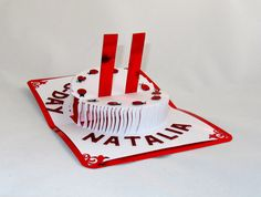 HAPPY BIRTHDAY 3D Pop Up CAKE w/Candles Greeting Card by BoldFolds, $30.00