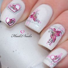 Nail WRAPS Nail Art Water Transfers Decals Pink by Hailthenails, £1.99