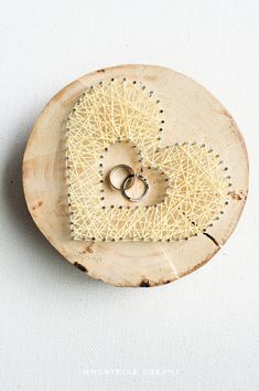"""Wooden Ring Pillow - """" You're in my heart """""""