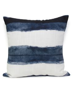 "Overview Shibori Stripe has been lovingly hand dyed recreating the ancient Japanese technique of Shibori, then digitally printed by Sparkk. Measurements • 19.7""x19.7"", cushion cover WITHOUT insert Add"