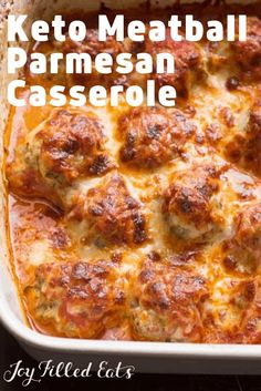 Flavorful meatballs baked until golden & then covered with tomato sauce & cheese. If you need a new family dinner this should be it. This is pure comfort food and an easy main course dinner. It is Italian American food at its finest! This easy recipe is l Meatball Casserole, Keto Casserole, Meatball Bake, Low Carb Breakfast Casserole, Breakfast Quesadilla, Dinner Casserole Recipes, Low Carb Dinner Recipes, Keto Dinner, Gluten Free Recipes Low Carb