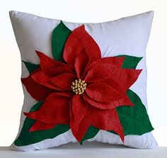 Poinsettia Decorative Throw Pillow Cover Red Felt on White Cotton Cushion Cover Christmas Pillowcase Gift Christmas Decor Gift Handmade Holiday Decorations (12x16) Amore Beaute http://www.amazon.com/dp/B0152WO7PY/ref=cm_sw_r_pi_dp_9D2Swb0FHEX81