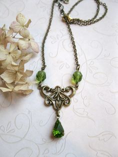 Green jewel necklace set vintage faceted glass by botanicalbird