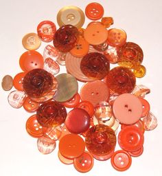 70 Orange Buttons with Holes and Shanks Round by scrapitsideways, $3.00