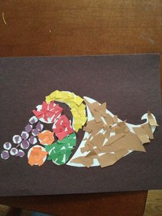 Thanksgiving cornucopia preschool art project. This was fun!