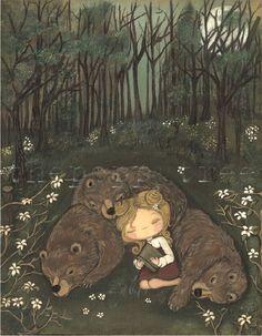 Reading Curlylocks and the three bears / Leyendo a Ricitos de Oro (ilustración de Kelly Ann)