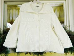 Nautica Cable Knit Chunky Sweater L Ivory Wide Collar Chunky Buttons #Nautica #Cardigan