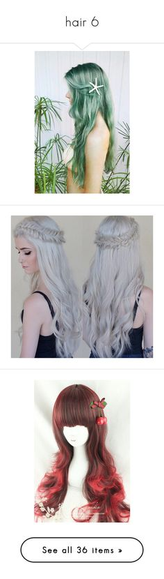 """""""hair 6"""" by lulu-dusk on Polyvore featuring hair, accessories, hair accessories, pictures, wig, beauty products, haircare, hair styling tools, wigs and cosplay"""