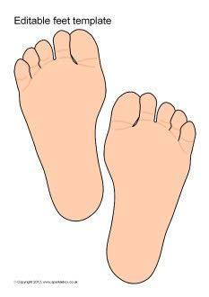 Editable feet template: could type sight words on and have children step on to practice