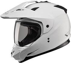Gmax GM11D Dual Sport Full Face Helmet (White, Large)