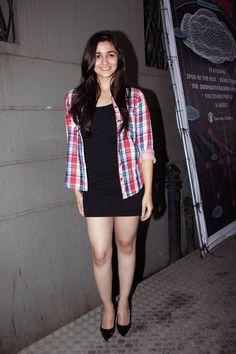 Alia Bhatt looked chic in a short black  dress and check shirt at Coke Studio@MTV Season 3 launch #Bollywood #Fashion